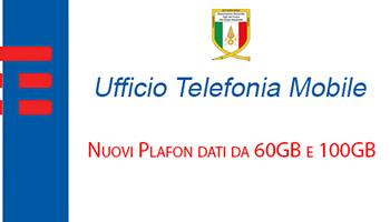 Convenzione di Telefonia Mobile: comunicazione di Nuovi Plafond dati da 60GB e 100GB