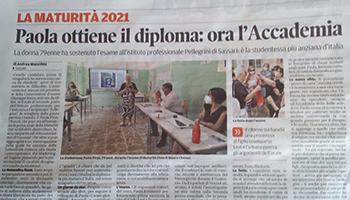 Sezione di SASSARI – Paola PIRAS, per l'anno scolastico 2020/202, è stata l'alunna più adulta d'Italia.